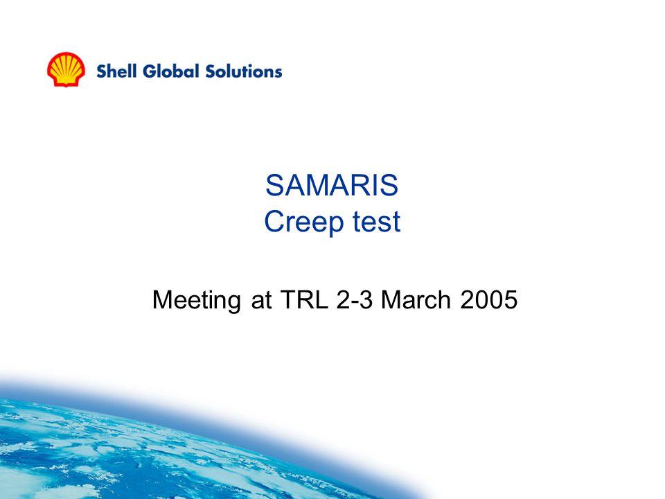 SAMARIS Creep test Meeting at TRL 2-3 March 2005