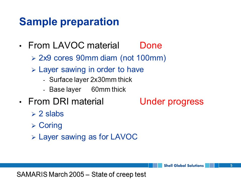 SAMARIS March 2005 – State of creep test program 5 Sample preparation From LAVOC materialDone  2x9 cores 90mm diam (not 100mm)  Layer sawing in order to have - Surface layer 2x30mm thick - Base layer 60mm thick From DRI materialUnder progress  2 slabs  Coring  Layer sawing as for LAVOC