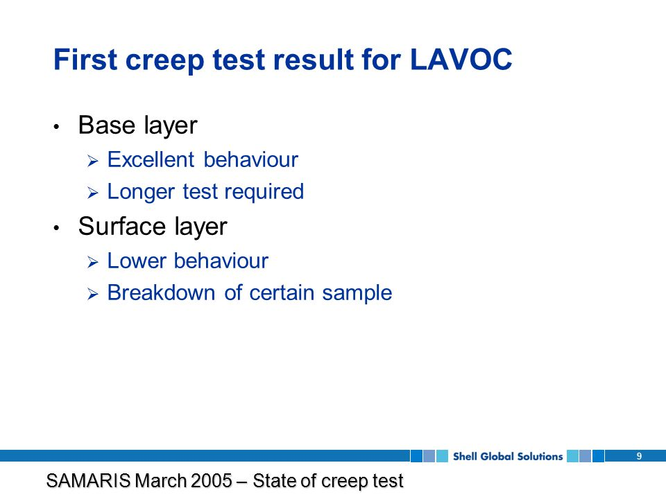 SAMARIS March 2005 – State of creep test program 9 First creep test result for LAVOC Base layer  Excellent behaviour  Longer test required Surface layer  Lower behaviour  Breakdown of certain sample
