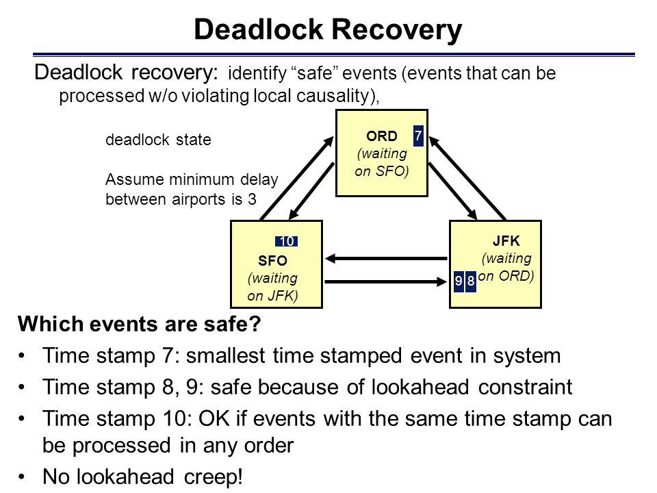 Deadlock Recovery Deadlock recovery: identify safe events (events that can be processed w/o violating local causality), Which events are safe.