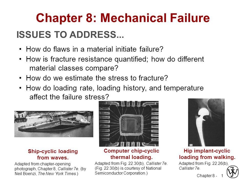 Chapter 8 - 1 ISSUES TO ADDRESS... How do flaws in a material initiate failure? How is fracture resistance quantified; how do different material class