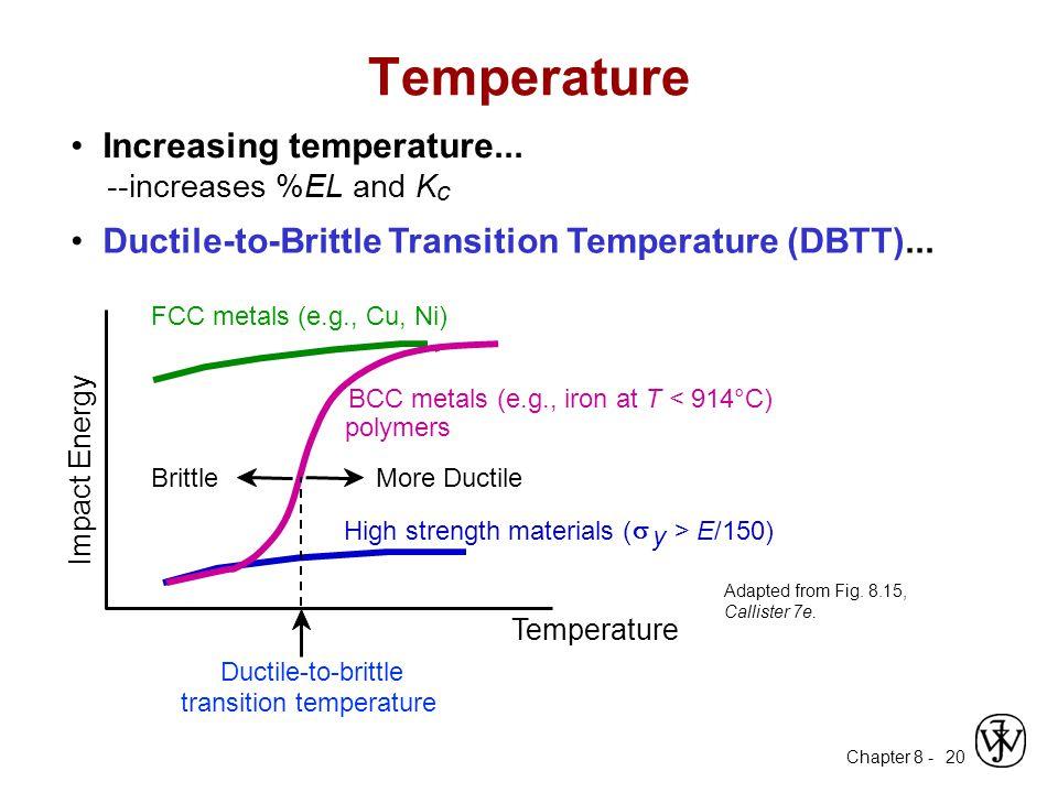 Chapter 8 - 20 Increasing temperature... --increases %EL and K c Ductile-to-Brittle Transition Temperature (DBTT)... Temperature BCC metals (e.g., iro