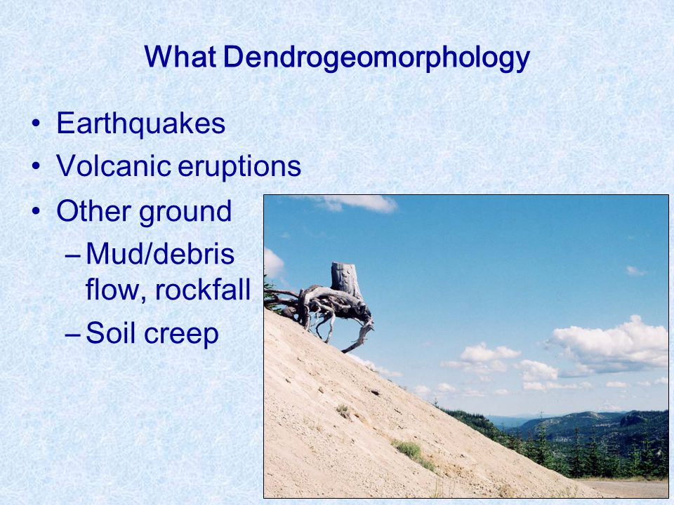 What Dendrogeomorphology Earthquakes Volcanic eruptions Other ground ―Mud/debris flow, rockfall ―Soil creep
