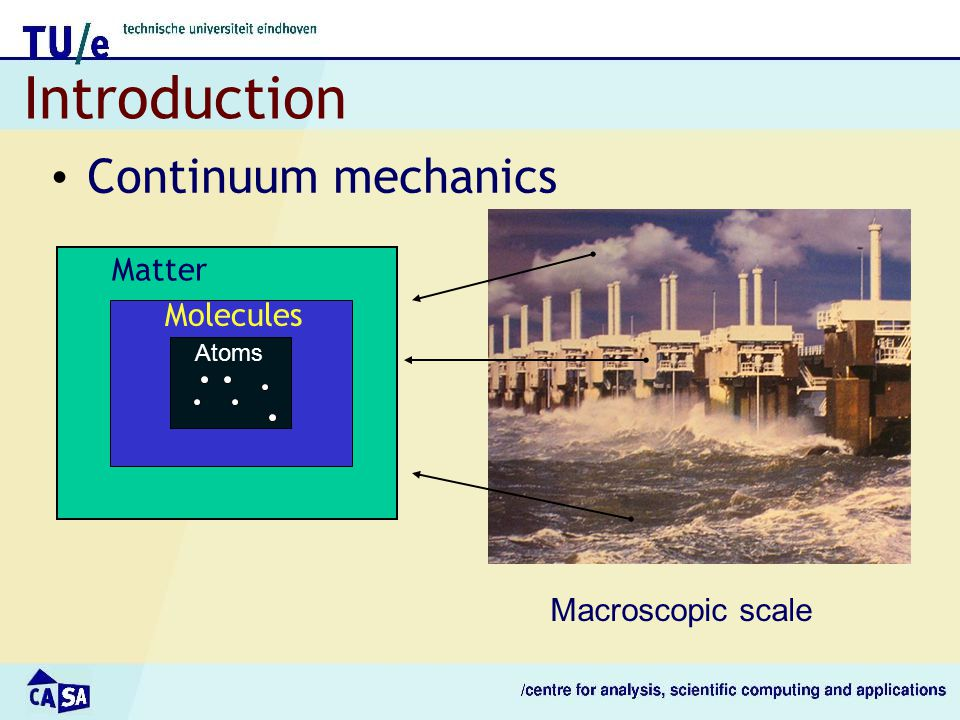 Introduction Continuum mechanics Matter Molecules Atoms Macroscopic scale