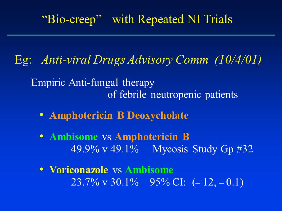 Bio-creep with Repeated NI Trials Eg: Anti-viral Drugs Advisory Comm (10/4/01) Empiric Anti-fungal therapy of febrile neutropenic patients Amphotericin B Deoxycholate Ambisome vs Amphotericin B 49.9% v 49.1% Mycosis Study Gp #32 Voriconazole vs Ambisome 23.7% v 30.1% 95% CI: ( – 12, – 0.1)