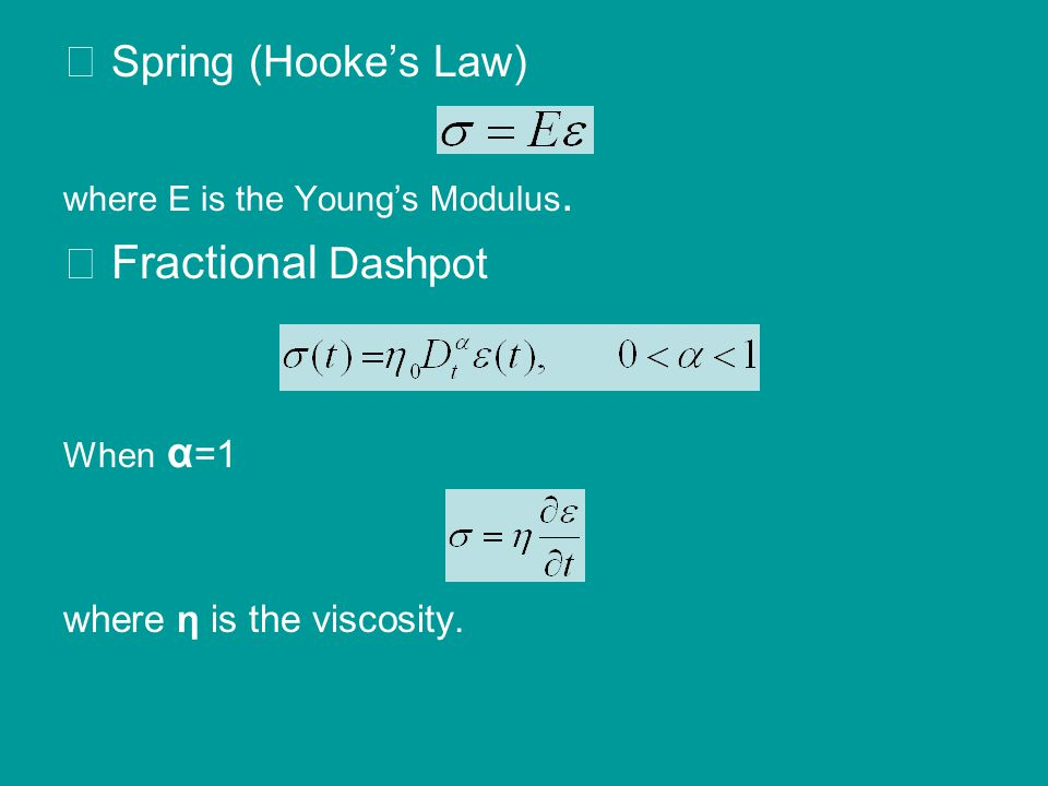 ⅰ Spring (Hooke's Law) where E is the Young's Modulus. ⅱ Fractional Dashpot When α =1 where η is the viscosity.