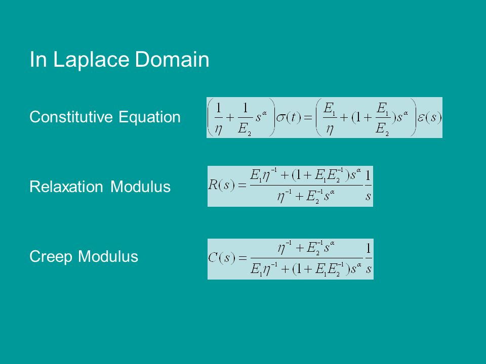 In Laplace Domain Constitutive Equation Relaxation Modulus Creep Modulus
