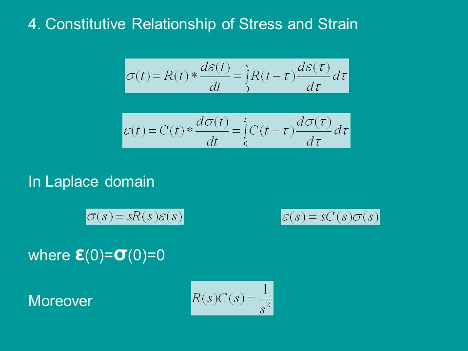 4. Constitutive Relationship of Stress and Strain In Laplace domain where ε (0)= σ (0)=0 Moreover