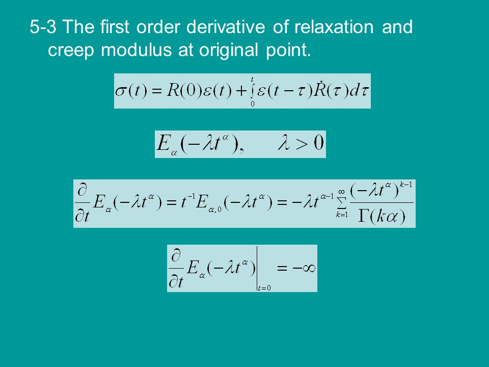 5-3 The first order derivative of relaxation and creep modulus at original point.