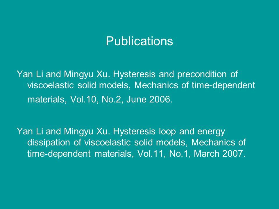 Publications Yan Li and Mingyu Xu. Hysteresis and precondition of viscoelastic solid models, Mechanics of time-dependent materials, Vol.10, No.2, June