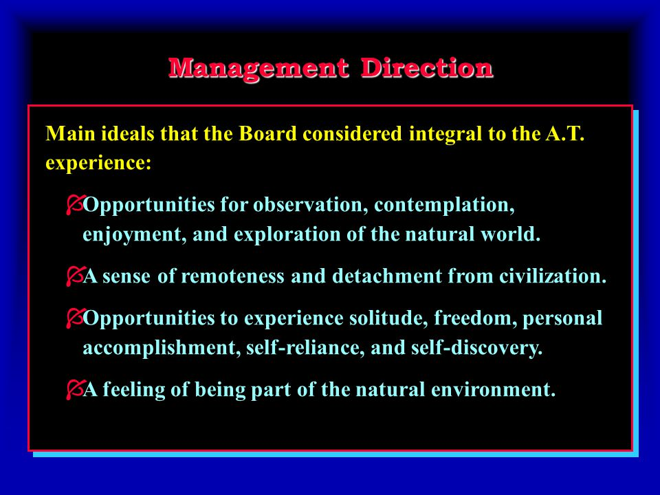 Management Direction Main ideals that the Board considered integral to the A.T.