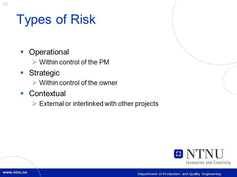 20 Department of Production and Quality Engineering Types of Risk  Operational  Within control of the PM  Strategic  Within control of the owner 