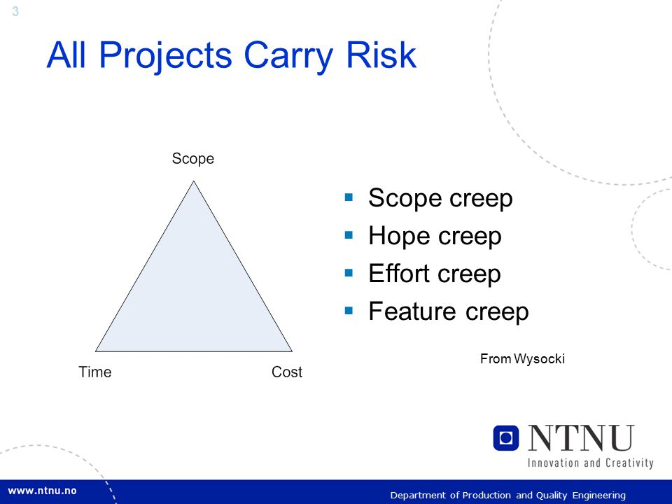 3 Department of Production and Quality Engineering All Projects Carry Risk  Scope creep  Hope creep  Effort creep  Feature creep From Wysocki