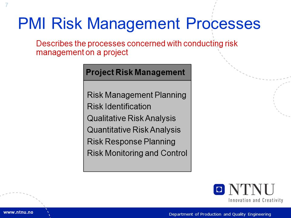 7 Department of Production and Quality Engineering PMI Risk Management Processes Describes the processes concerned with conducting risk management on