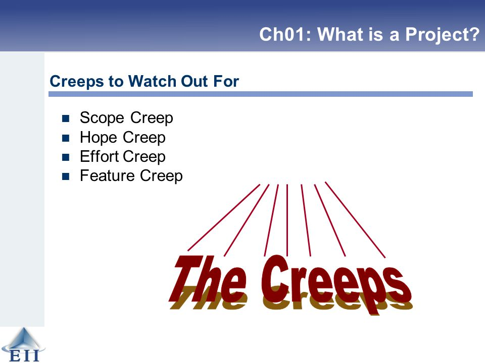 Scope Creep Hope Creep Effort Creep Feature Creep Creeps to Watch Out For Ch01: What is a Project?