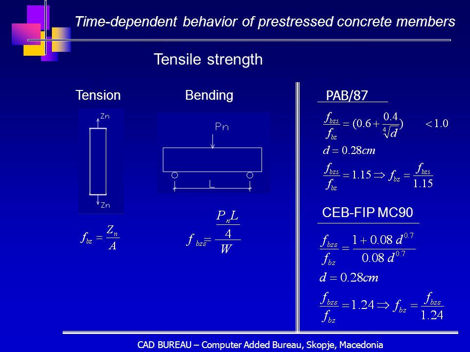 CAD BUREAU – Computer Added Bureau, Skopje, Macedonia TensionBending PAB/87 CEB-FIP MC90 Tensile strength Time-dependent behavior of prestressed concrete members