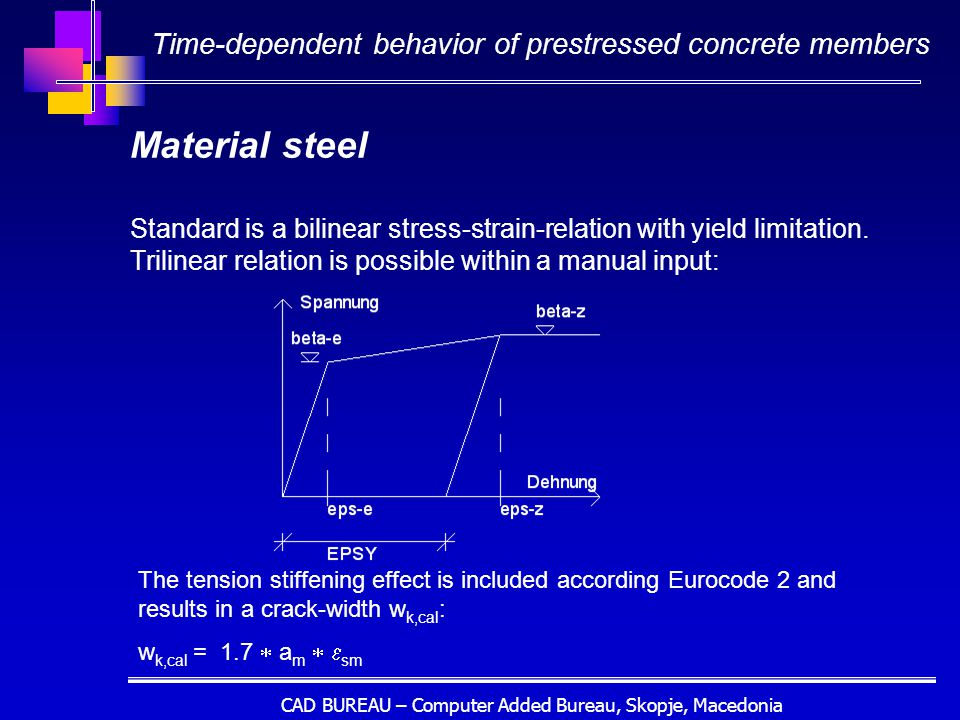 CAD BUREAU – Computer Added Bureau, Skopje, Macedonia Material steel Standard is a bilinear stress-strain-relation with yield limitation.
