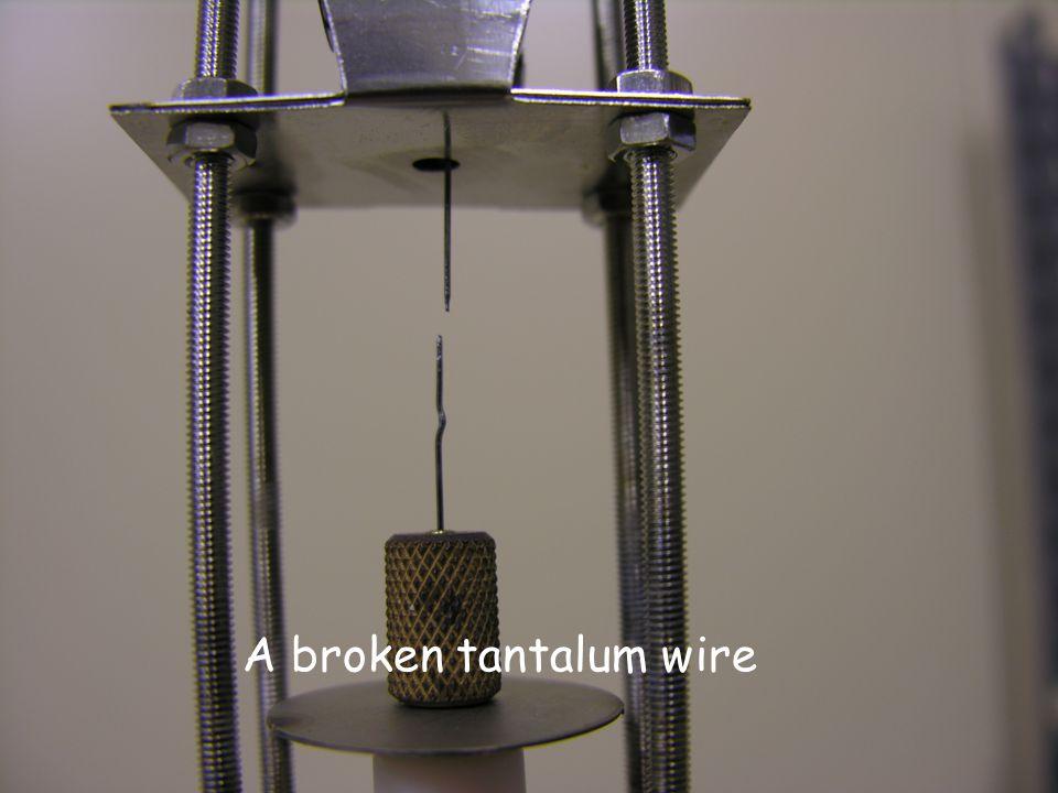 A broken tantalum wire