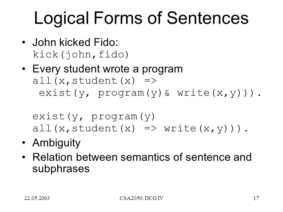 22.05.2003CSA2050: DCG IV17 Logical Forms of Sentences John kicked Fido: kick(john,fido) Every student wrote a program all(x,student(x) => exist(y, program(y)& write(x,y))).