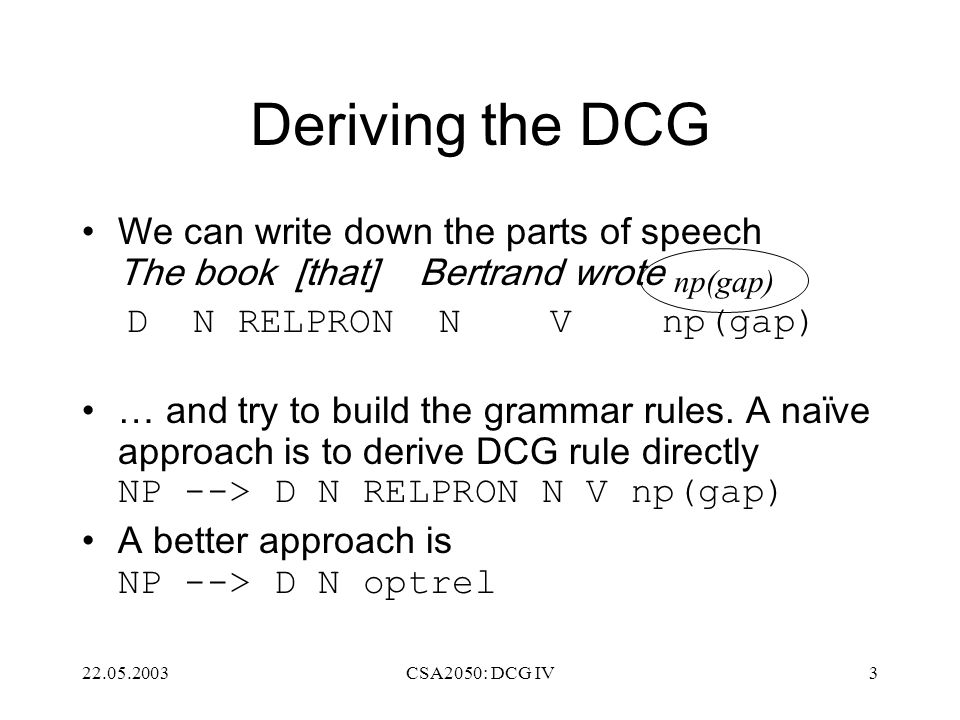 22.05.2003CSA2050: DCG IV3 Deriving the DCG We can write down the parts of speech The book [that] Bertrand wrote D N RELPRON N V np(gap) … and try to