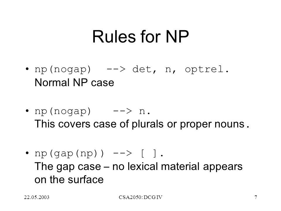 22.05.2003CSA2050: DCG IV7 Rules for NP np(nogap) --> det, n, optrel.