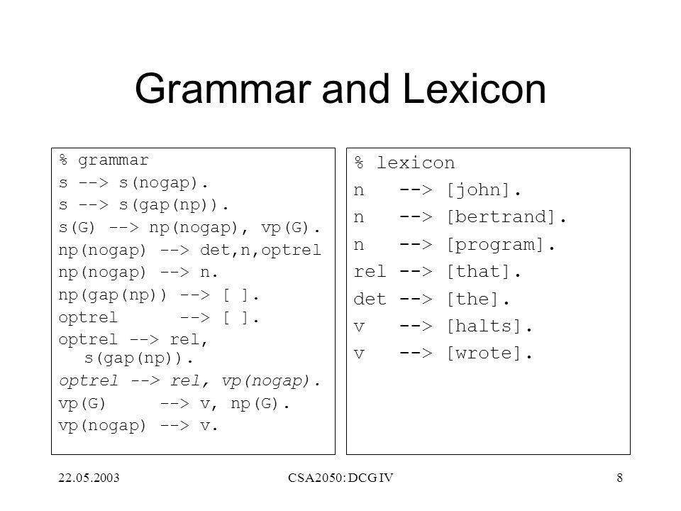 22.05.2003CSA2050: DCG IV8 Grammar and Lexicon % grammar s --> s(nogap). s --> s(gap(np)). s(G) --> np(nogap), vp(G). np(nogap) --> det,n,optrel np(no