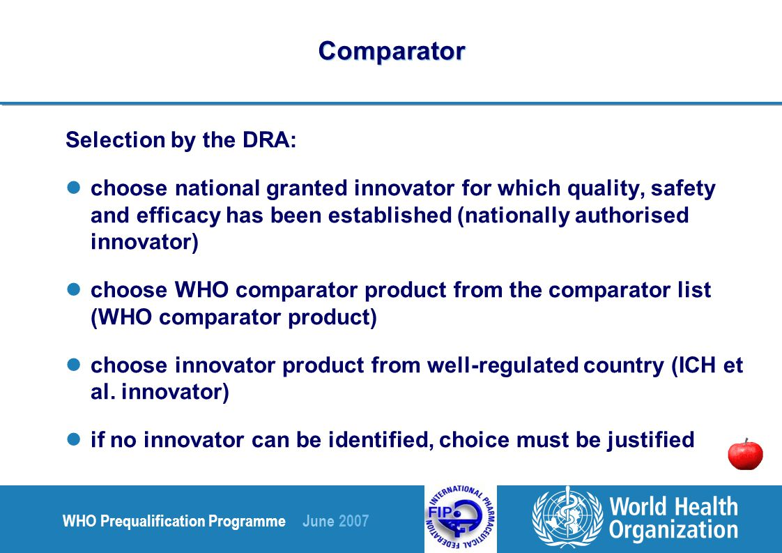 WHO Prequalification Programme June 2007 Comparator Selection by the DRA: choose national granted innovator for which quality, safety and efficacy has been established (nationally authorised innovator) choose WHO comparator product from the comparator list (WHO comparator product) choose innovator product from well-regulated country (ICH et al.