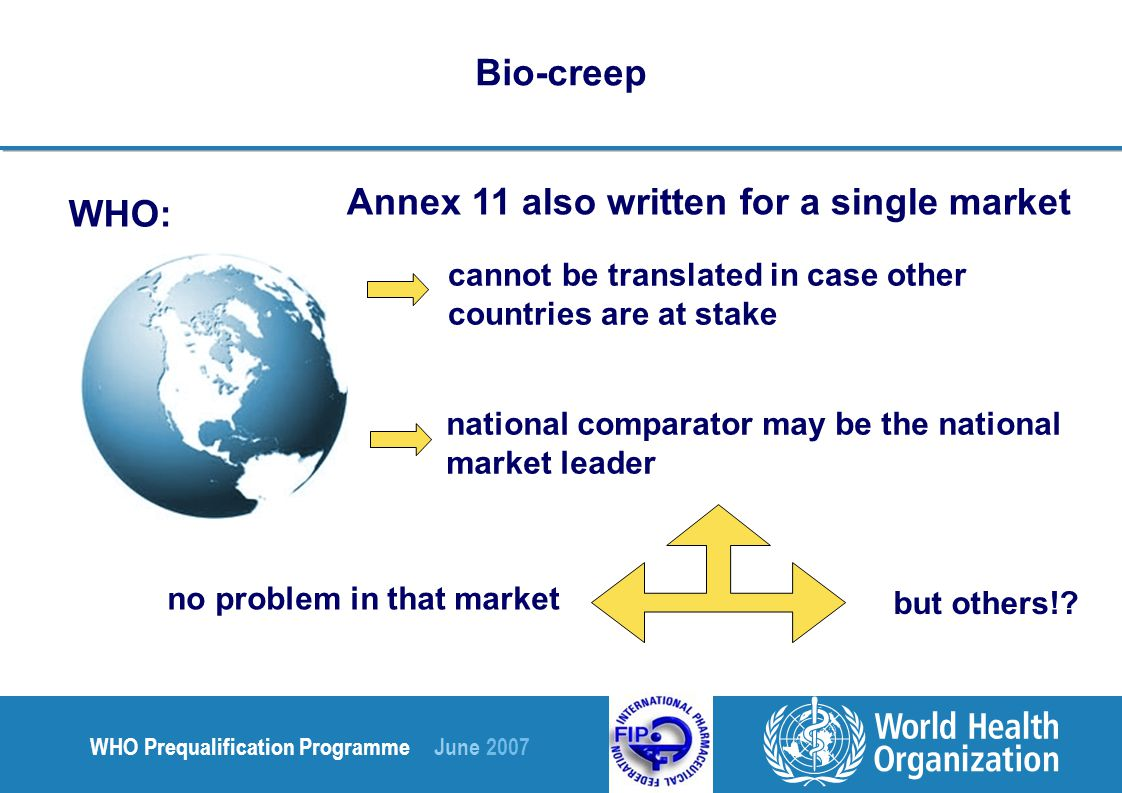 WHO Prequalification Programme June 2007 Bio-creep WHO: Annex 11 also written for a single market cannot be translated in case other countries are at stake national comparator may be the national market leader no problem in that market but others!
