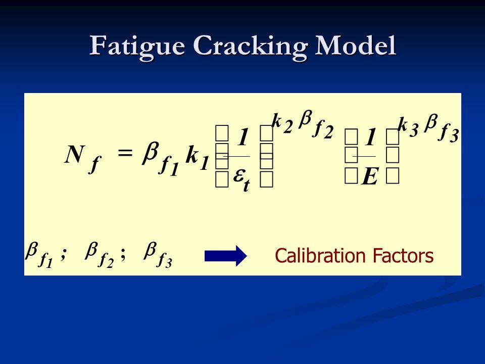 3 f3 2 f2 1 k k t 1ff E 11 kN                    321 fff ;  ; Calibration Factors Fatigue Cracking Model