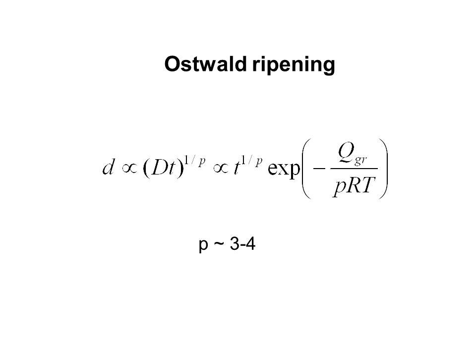 Ostwald ripening p ~ 3-4