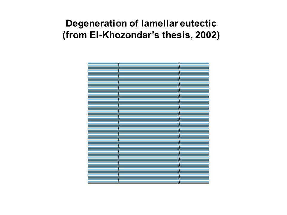 Degeneration of lamellar eutectic (from El-Khozondar's thesis, 2002)