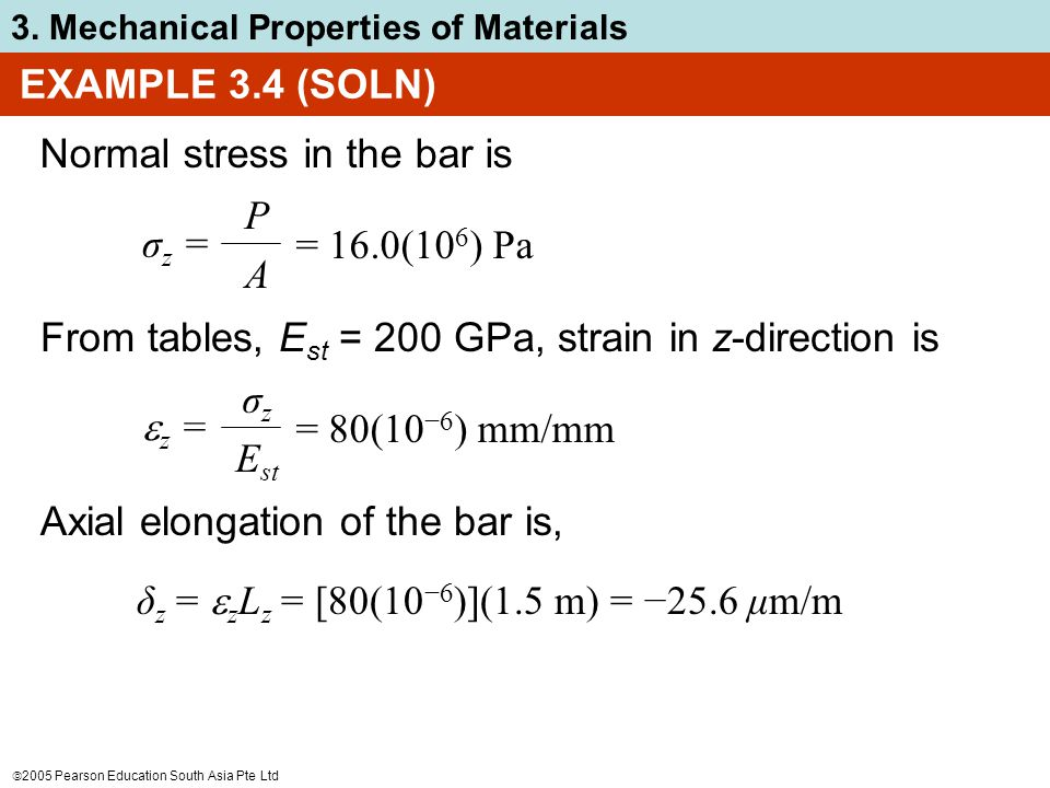  2005 Pearson Education South Asia Pte Ltd 3. Mechanical Properties of Materials Normal stress in the bar is σ z = PAPA = 16.0(10 6 ) Pa From tables,
