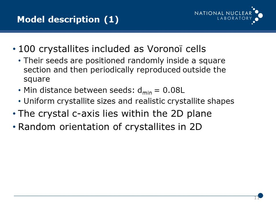 11 Model description (1) 100 crystallites included as Voronoï cells Their seeds are positioned randomly inside a square section and then periodically