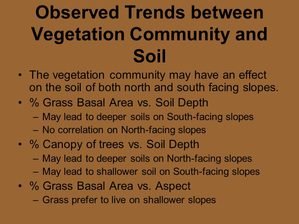 Observed Trends between Vegetation Community and Soil The vegetation community may have an effect on the soil of both north and south facing slopes.