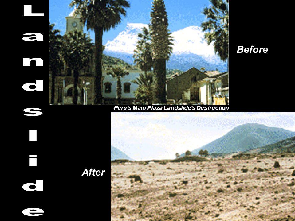 Peru's Main Plaza Landslide's Destruction Before After
