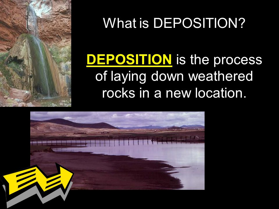 DEPOSITION is the process of laying down weathered rocks in a new location. What is DEPOSITION?