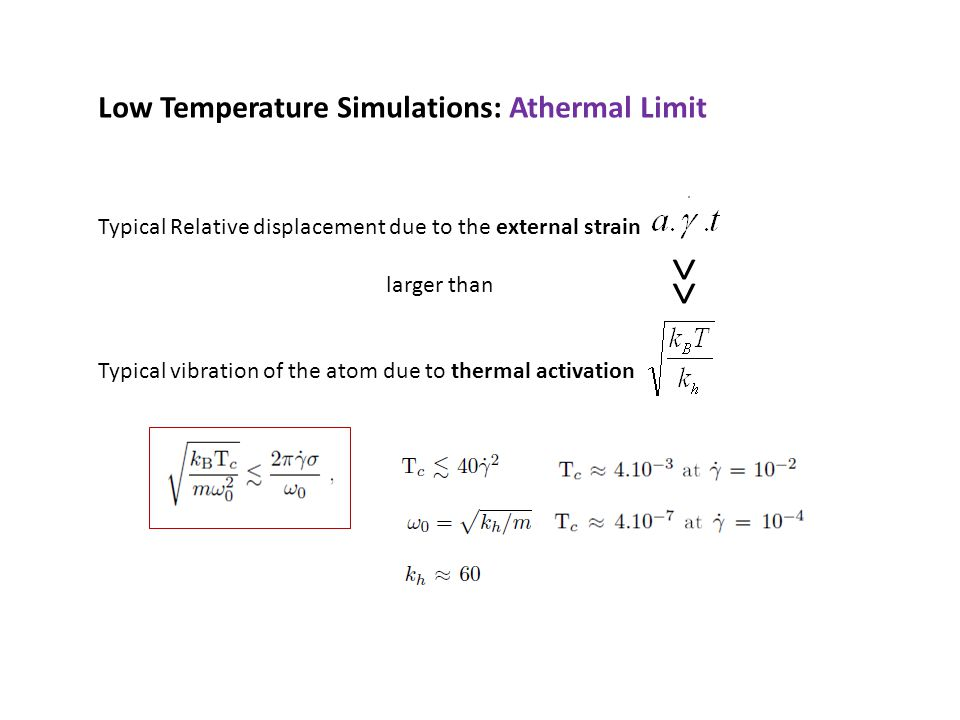 Low Temperature Simulations: Athermal Limit Typical Relative displacement due to the external strain larger than Typical vibration of the atom due to