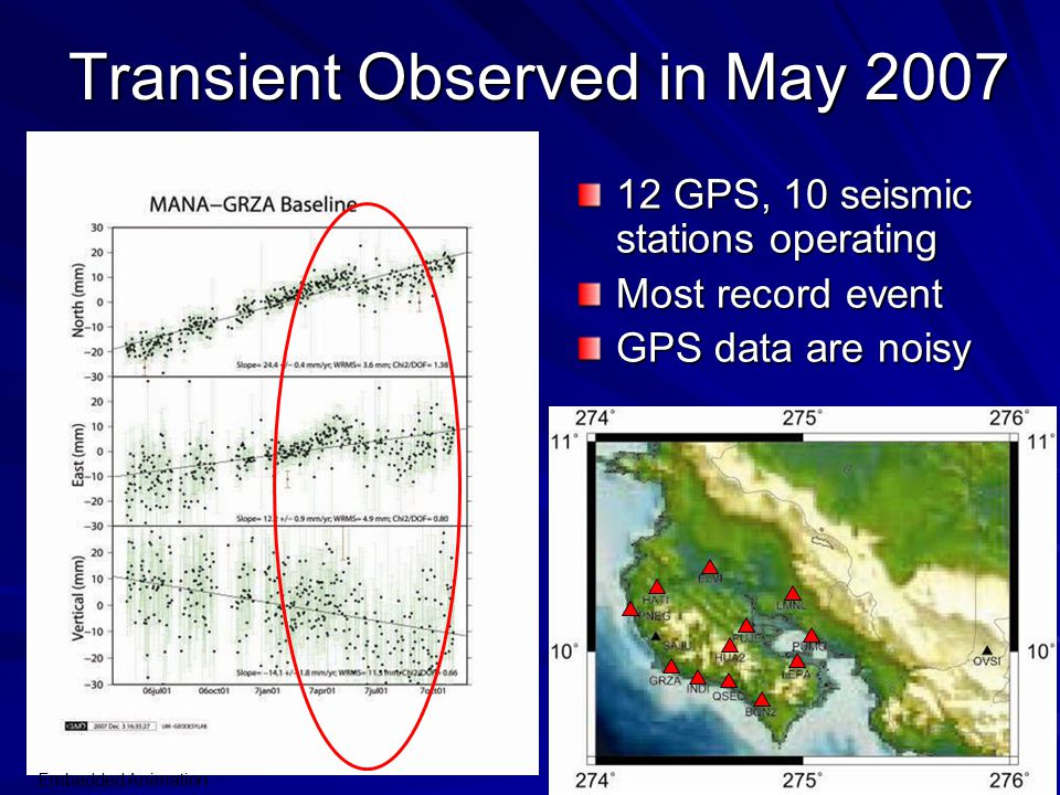 Transient Observed in May 2007 12 GPS, 10 seismic stations operating Most record event GPS data are noisy Embedded Animation