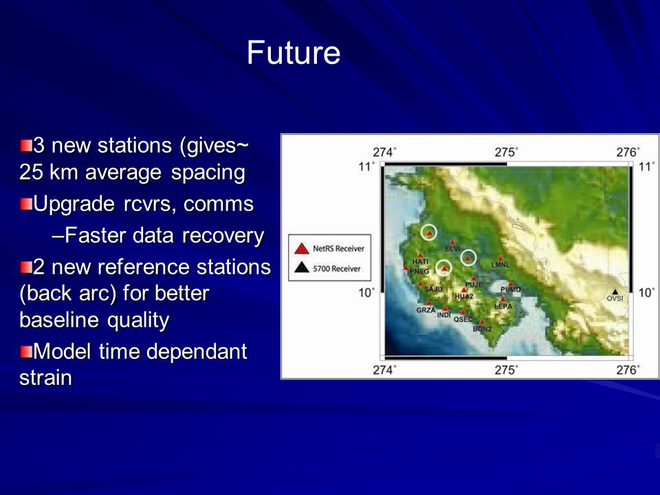 3 new stations (gives~ 25 km average spacing Upgrade rcvrs, comms –Faster data recovery 2 new reference stations (back arc) for better baseline quality Model time dependant strain Future