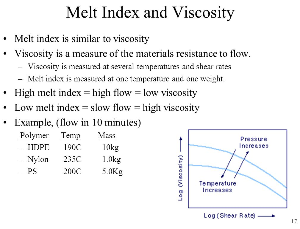 17 Melt Index and Viscosity Melt index is similar to viscosity Viscosity is a measure of the materials resistance to flow. –Viscosity is measured at s