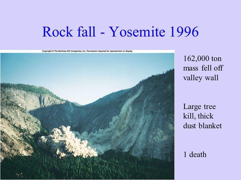 Rock fall - Yosemite 1996 162,000 ton mass fell off valley wall Large tree kill, thick dust blanket 1 death