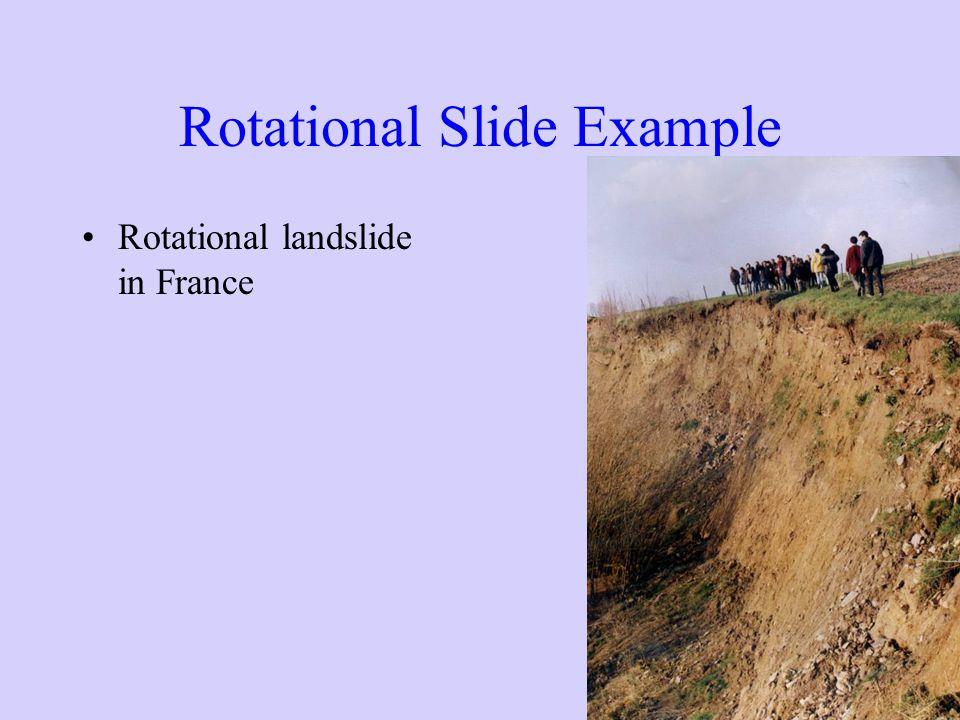 Rotational Slide Example Rotational landslide in France