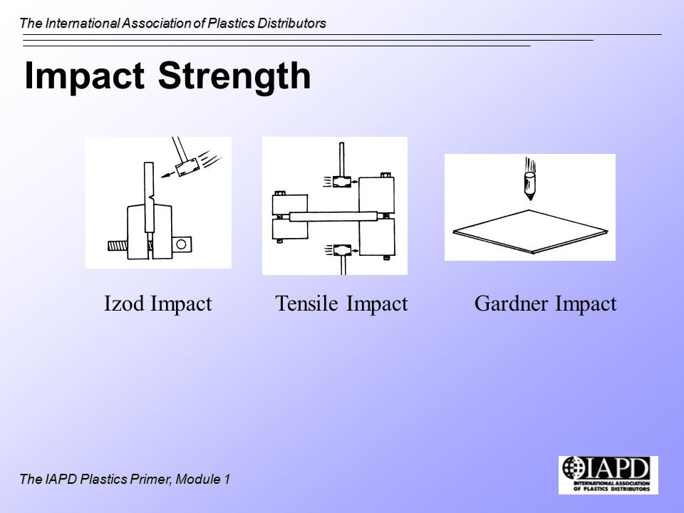 The International Association of Plastics Distributors The IAPD Plastics Primer, Module 1 Impact Strength Izod ImpactTensile ImpactGardner Impact