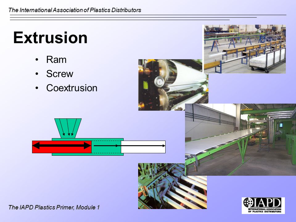 The International Association of Plastics Distributors The IAPD Plastics Primer, Module 1 Extrusion Ram Screw Coextrusion