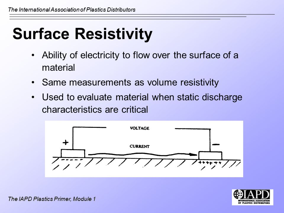 The International Association of Plastics Distributors The IAPD Plastics Primer, Module 1 Surface Resistivity Ability of electricity to flow over the surface of a material Same measurements as volume resistivity Used to evaluate material when static discharge characteristics are critical