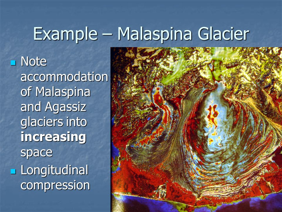 Example – Malaspina Glacier Note accommodation of Malaspina and Agassiz glaciers into increasing space Note accommodation of Malaspina and Agassiz gla