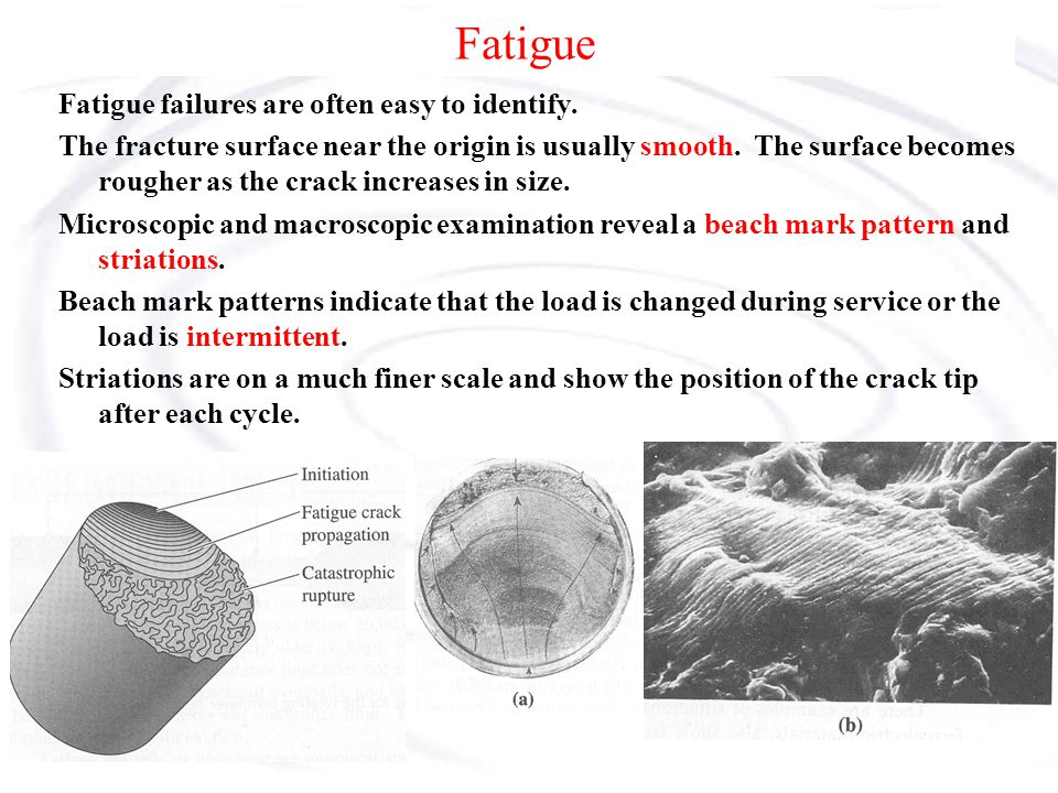 Fatigue Fatigue failures are often easy to identify. The fracture surface near the origin is usually smooth. The surface becomes rougher as the crack