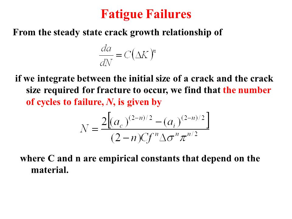 Fatigue Failures if we integrate between the initial size of a crack and the crack size required for fracture to occur, we find that the number of cyc