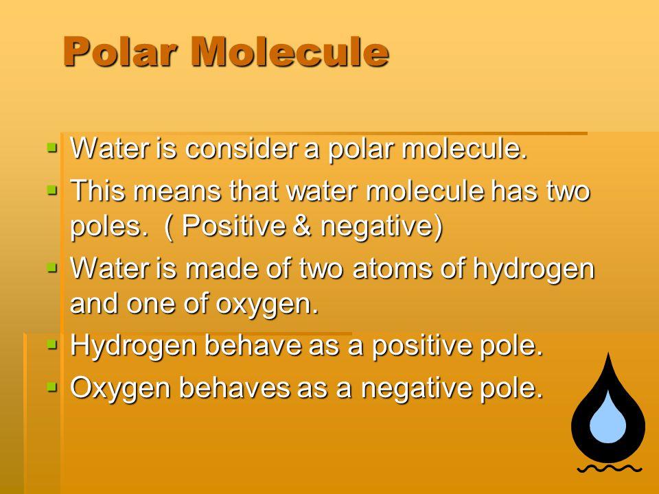 Hydrogen Oxygen + + - What is a polar Molecule?