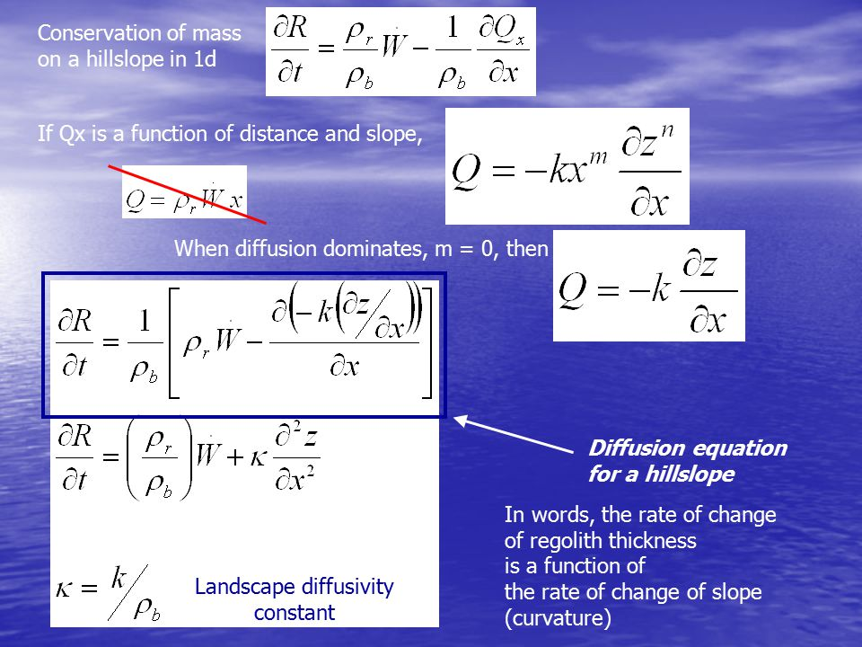 If Qx is a function of distance and slope, When diffusion dominates, m = 0, then Diffusion equation for a hillslope Landscape diffusivity constant In words, the rate of change of regolith thickness is a function of the rate of change of slope (curvature) Conservation of mass on a hillslope in 1d